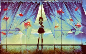 Picture window, goldfish, curtains, schoolgirl, art, Mitab The Iroha In