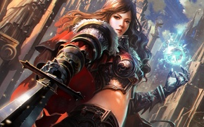 Picture the city, magic, Girl, sword, armor, sphere, knight