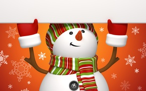 Wallpaper winter, snowflakes, orange, holiday, graphics, new year, Christmas, snowman, christmas, new year