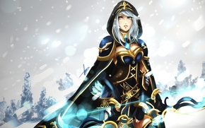 Picture winter, girl, snow, bow, hood, arrows, league of legends, ashe