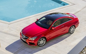 Picture Mercedes-Benz, Red, Mercedes, The hood, Shadow, E-class, Coupe, The view from the top