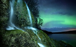 Picture the sky, stars, trees, night, nature, rock, river, waterfall, Northern lights