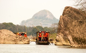 Wallpaper red, boat, mountains, background, Wallpaper, sail, swim, boats, China, water, stone, stones