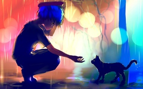 Picture art, guy, hand, rain, anime, lights, puddles, kayas, cat