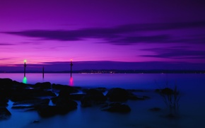 Wallpaper the sky, clouds, night, lights, reflection, stones, shore, Switzerland, purple, lilac, Lake Constance