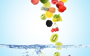 Picture water, bubbles, cherry, berries, raspberry, background, blue, lemon, apples, coconut, kiwi, strawberry, grapes, top, lime, ...