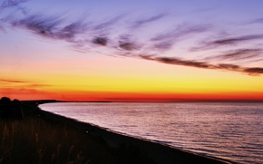 Picture sea, the sky, sunset, the evening, Azov