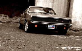 Picture glass, reflection, shadow, muscle car, Dodge, dodge, charger, r/t, the front, 1968, the charger
