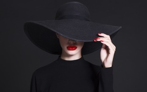 Wallpaper fashion, hat, hand, pose, Lips, haute couture