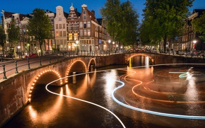 Picture light, night, the city, lights, Amsterdam, channel, Netherlands
