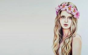 Wallpaper wreath, art, girl, Eva Garrido