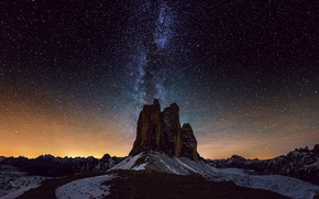 Picture space, stars, light, mountains, horizon, mystery, The Milky Way
