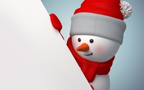Picture rendering, new year, snowman, christmas, new year, cute, snowman, banner