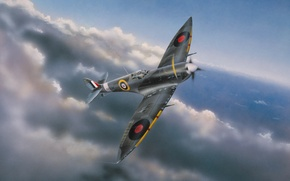 Picture war, art, painting, aviation, ww2, Supermarine Spitfire Mk.VI