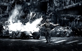 Picture The Dark Knight Rises, the ruined city, Bane, The dark knight: the legend, The Batmobile