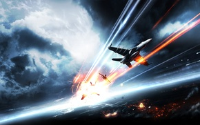 Picture the sky, the city, aircraft, Battlefield 3