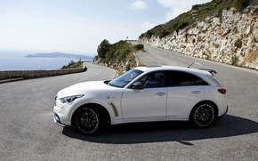 Picture road, sea, mountains, wheel, infiniti, fx50, hatchback, quote, vettel edition