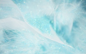 Picture lights, background, holiday, gentle, blue, Shine, new year, feathers, sequins, texture, bokeh, Wallpaper from lolita777
