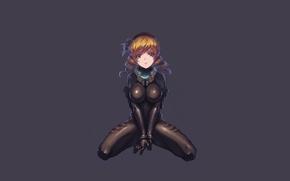 Picture girl, the dark background, minimalism, sitting, skafandr