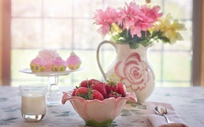 Picture flowers, glass, berries, table, milk, window, strawberry, bowl, pitcher, still life, cakes