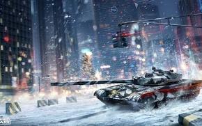 Wallpaper street, armored warfare, tank, the city, winter