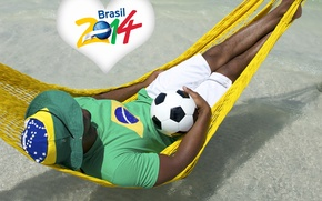 Picture logo, man, football, flag, World Cup, Brasil, FIFA, hammock