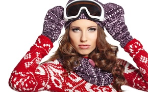 Picture look, girl, face, eyelashes, background, hat, hair, makeup, jacket, curls, mittens, binding