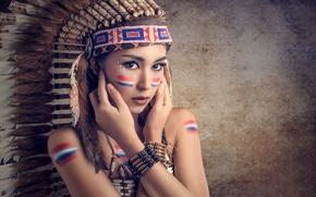Picture feathers, makeup, coloring, Saipan, headdress, Chakrit Chanpen, Thai Model