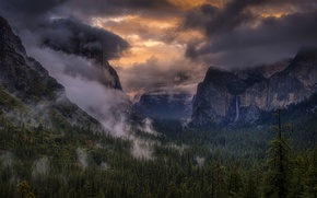 Picture the sky, clouds, trees, mountains, fog, waterfall, USA, Yosemite National Park, Sierra Nevada