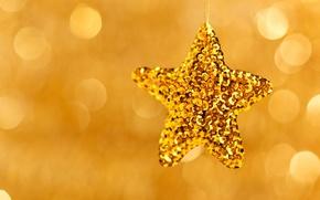 Wallpaper Christmas, toy, bokeh, holidays, star, gold, Christmas