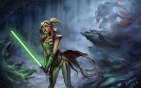 Picture forest, snow, little red riding hood, Art, lightsabers, Padawan, the dark side, grey wolf