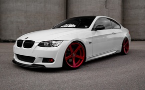 Picture BMW, Red, White, E92, Wheels