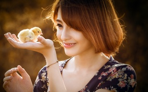 Picture girl, mood, chicken
