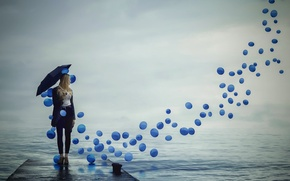 Picture girl, balls, umbrella
