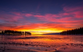 Picture ice, lake, ice, lake, red sky, red sky, trees sunset, trees sunset