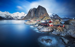 Picture sea, mountains, Norway, town, settlement, archipelago, The Lofoten Islands, fylke Nordland, the municipality of Moskenes, …