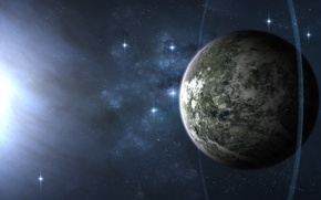 Wallpaper space, star, planet, ring, tadp0l3
