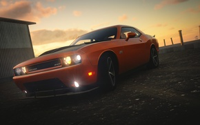 Picture Dodge Challenger, Lights, The Crew, Sun Set, Brutal
