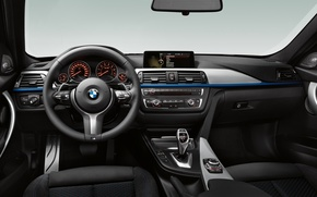 Picture BMW, BMW, Salon, the wheel, Boomer, dashboard, Beha, f30, three, salon, steering wheel
