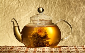 Picture flower, tea, kettle, Lotus, Chinese, Mat, knitted