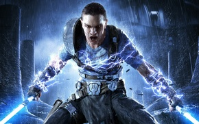 Picture rain, rage, swords, Jedi, Star Wars: The Force Unleashed 2