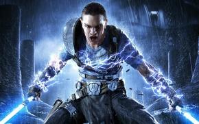 Wallpaper Jedi, Star Wars: The Force Unleashed 2, rage, rain, swords