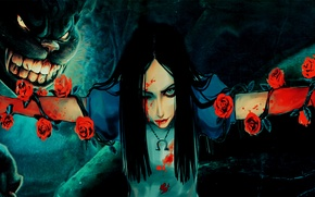 Picture girl, blood, Alice, girl, blood, Cheshire cat, Alice, Alice Madness Returns