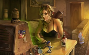 Picture girl, headphones, Fallout 3, nuka cola