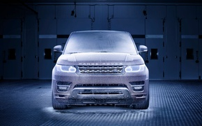 Picture Auto, Blue, Machine, Ice, Lights, Land Rover, Range Rover, Frost, Sport, Cold, The front