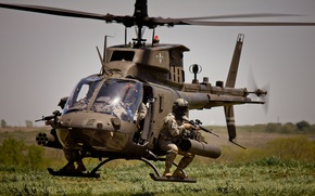 Picture soldiers, helicopter, American, multipurpose, Bell, easy, OH-58, Kiowa