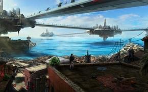 Picture roof, sea, water, bridge, the city, future, building, art, guy