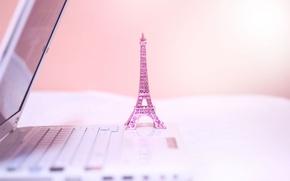 Picture pink, figurine, Eiffel tower, laptop, La tour Eiffel