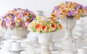 Picture flowers, roses, daffodils, vases, bouquets, Ranunculus, serving, porcelain