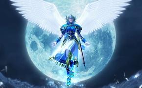 Picture sword, armor, helmet, the full moon, Valkyrie, tail, closed eyes, white wings, Valkiriya, woman warrior, …